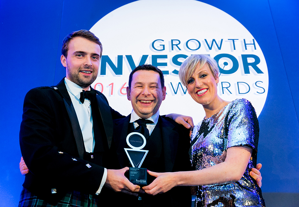 Jonothan McColgan, being presented with the highly coveted Financial Adviser of the Year Award by BBC Broadcaster Steph McGovern