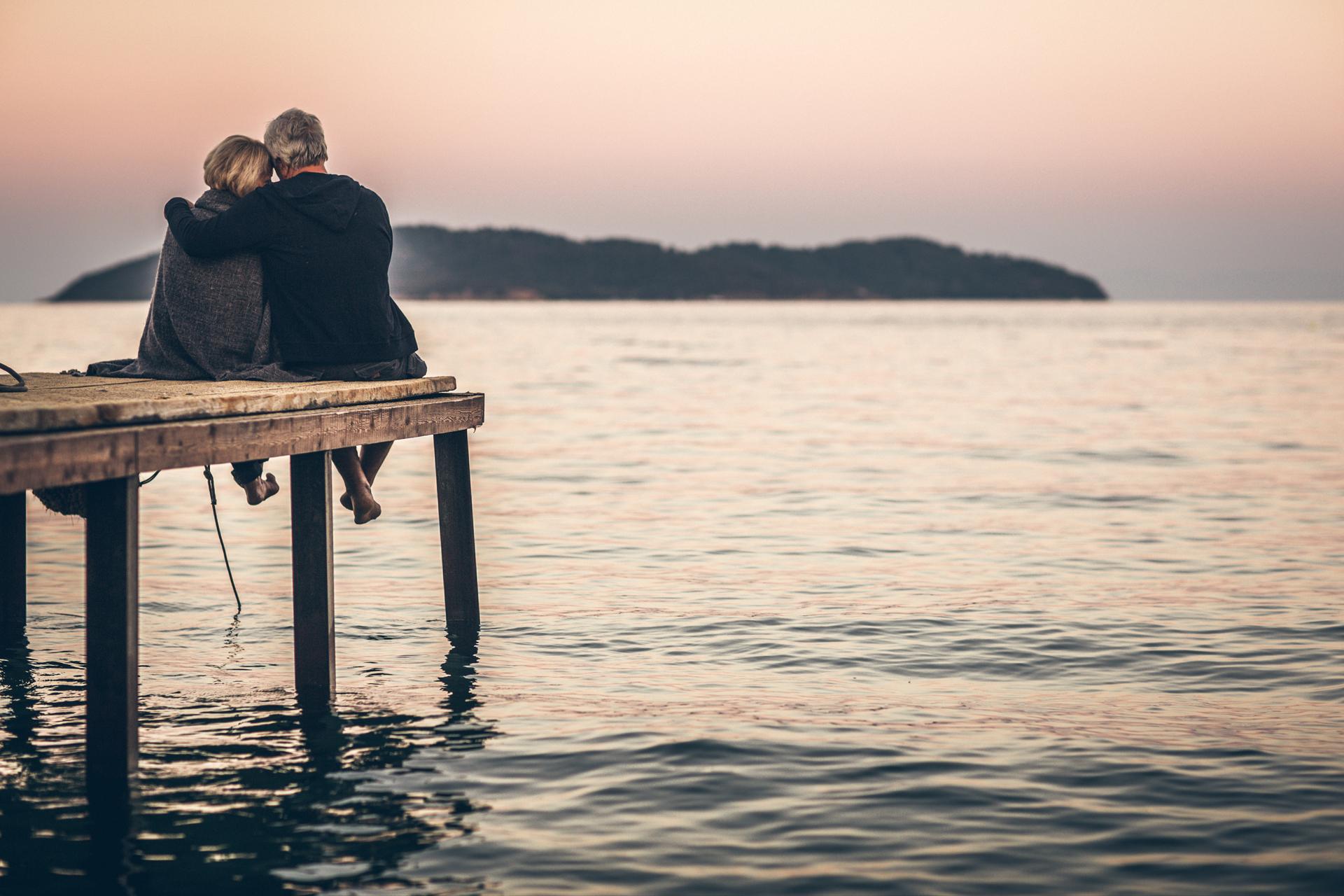 Retired couple enjoying the sunset